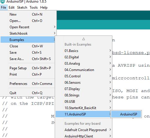 ArduinoISP Example in Arduino IDE