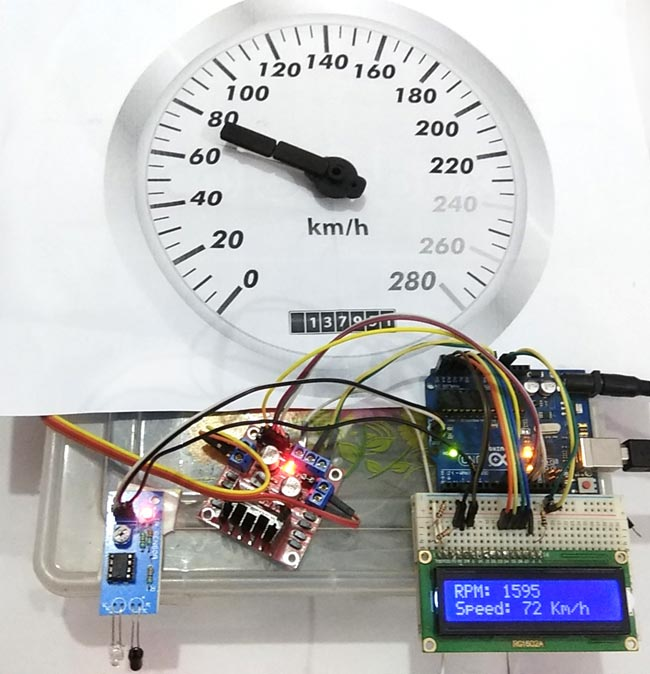 Assembled Analog Speedometer Using Arduino and IR Sensor