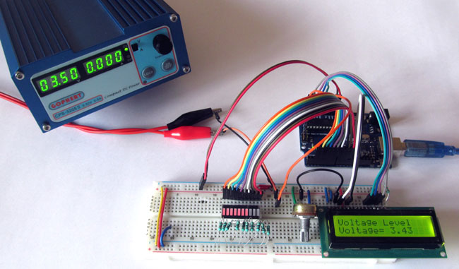 Battery Voltage Indicator in action using Arduino and LED Bar Graph