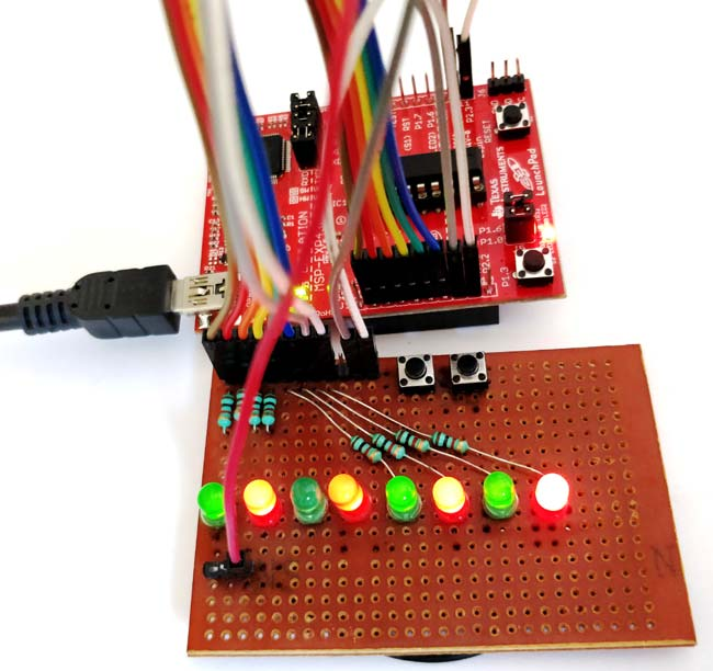 Blinking LED Sequence with MSP430G2