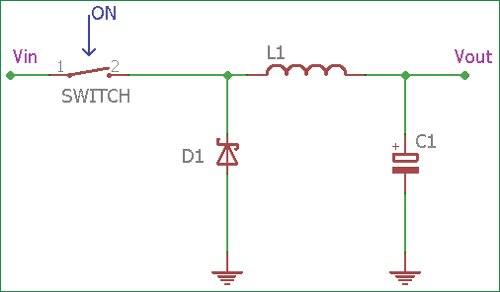 switching buck regulator circuit, design basics and efficiencybuck converter circuit when switch is on