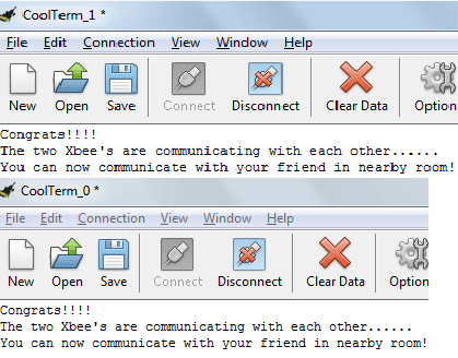 Chat between two computers using XBee module
