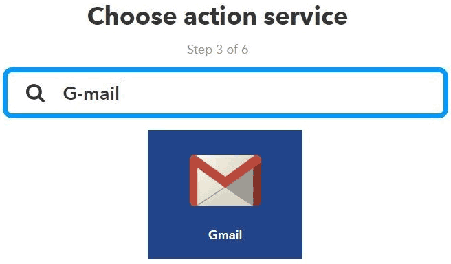 Choose Gmail as action service on your IFTT server