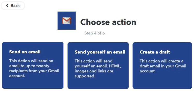Choose action for gmail on your IFTT server