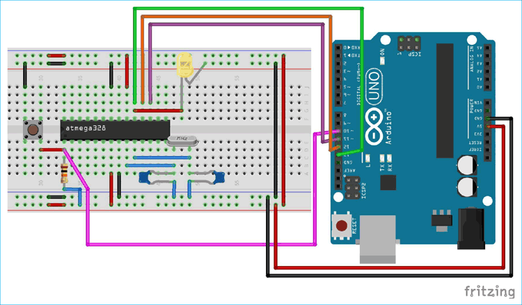 Circuit Diagram for connecting Arduino with Atmega328