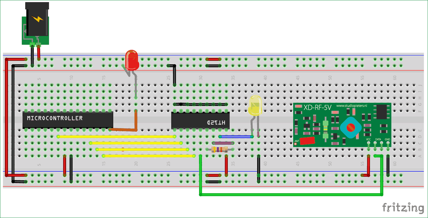 Circuit Diagram of Receiver part for Interfacing RF module with Atmega8