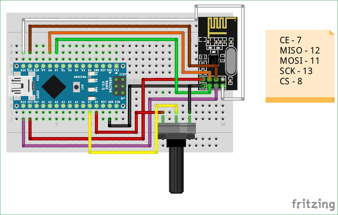 Circuit Diagram Of Transmitter Part For Interfacing Nrf L With Arduino
