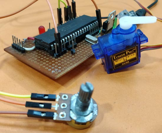 Circuit Hardware for Generating PWM signals on GPIO pins of PIC Microcontroller Controlling Servo Motor