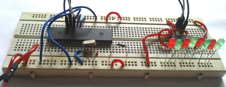 Circuit Hardware for Interfacing 74HC595 Serial Shift Register with PIC Microcontroller