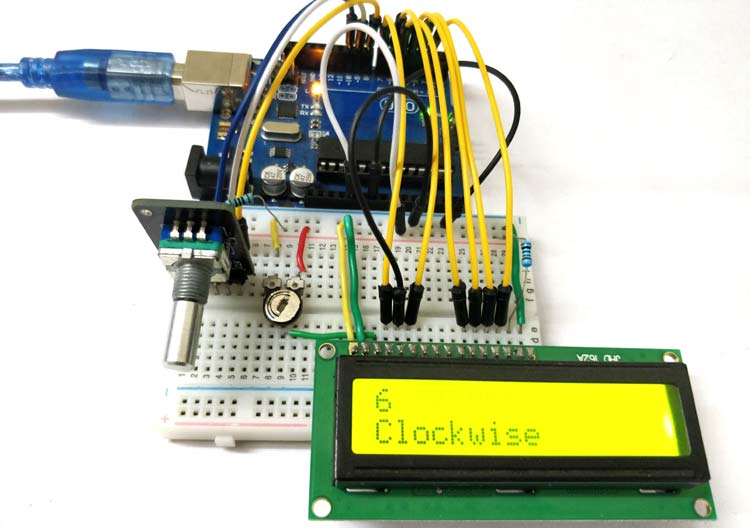 Circuit Hardware for Interfacing Rotary Encoder with Arduino
