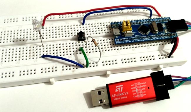 Circuit Hardware for Programming STM32F103C8 using Keil-uVision and STM32CubeMX