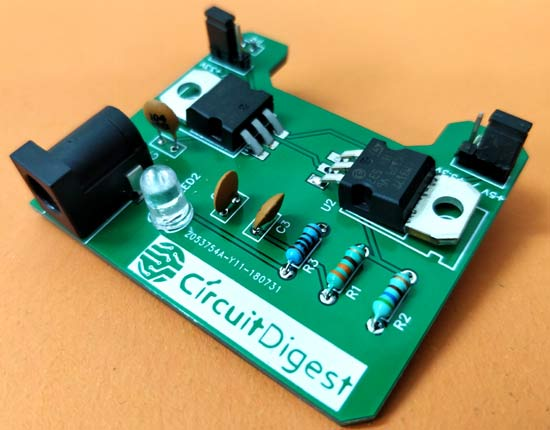 Circuit Hardware of DIY Breadboard Power Supply Circuit on PCB