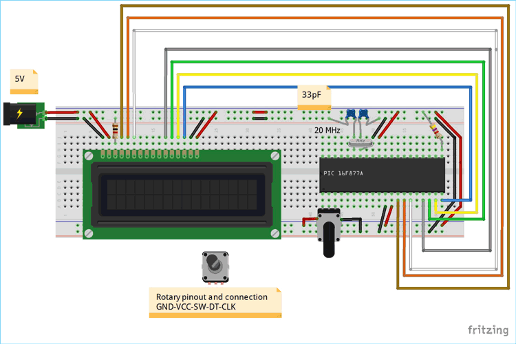 Circuit Model for Rotary Encoder interfacing with PIC Microcontroller