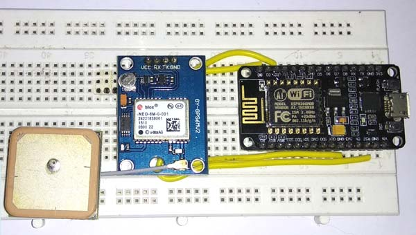 Circuit hardware for GPS Interfacing with NodeMCU