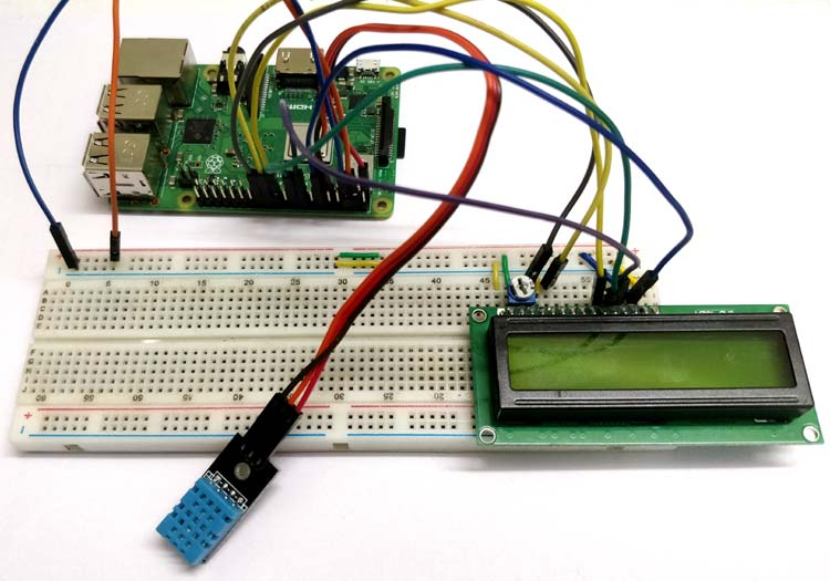 Circuit hardware for Interfacing DHT11 with Raspberry-Pi
