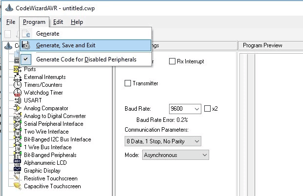 Click on Program then choose Generate Save and Exit