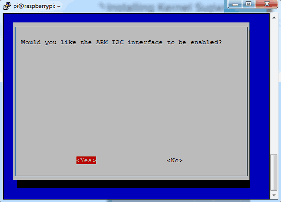 Click yes for enable I2C interface