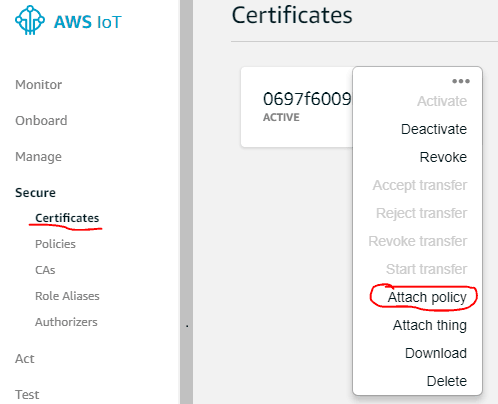 Clicking on options and selecting Attach policy