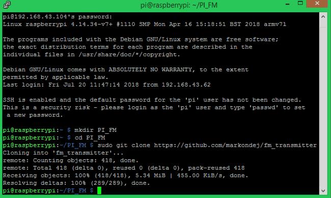 Programme de clonage de Github vers Raspberry Pi