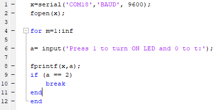 Code for Serial Communication between MATLAB and Arduino using Command Window