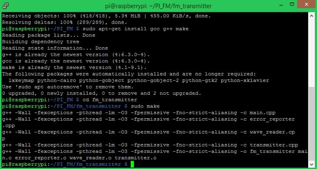 Compiler le programme pour l'émetteur FM sur Pi