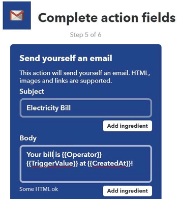 Complete action field for gmail on your IFTT server