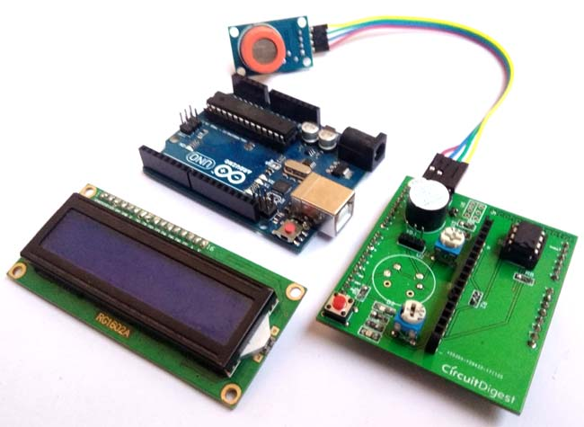 Components for Arduino Alcohol Detector Circuit