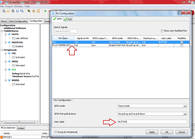 Configure User Label in STM32CubeM