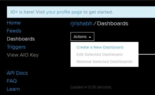 Create new Dashboard in your Adafruit Account