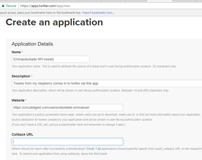 Creating an application