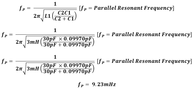 Crystal parallel resonant frequency