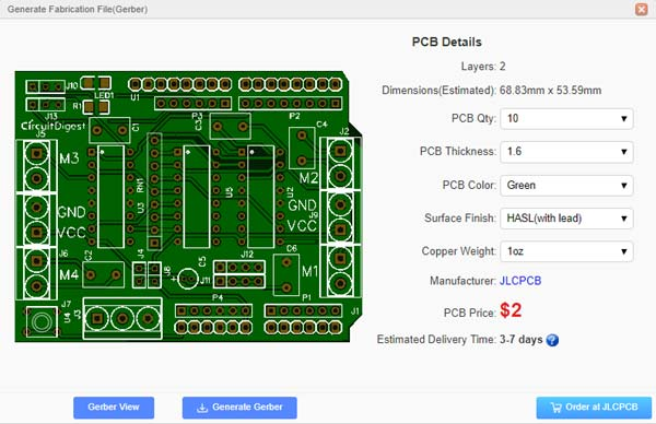 DIY Arduino Motor Driver Shield PCB detailed dimension