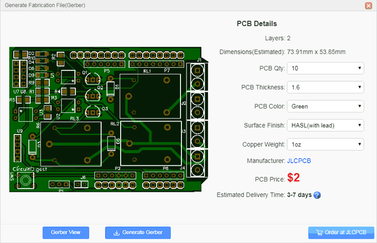DIY Arduino Relay Driver Shield PCB detailed dimension