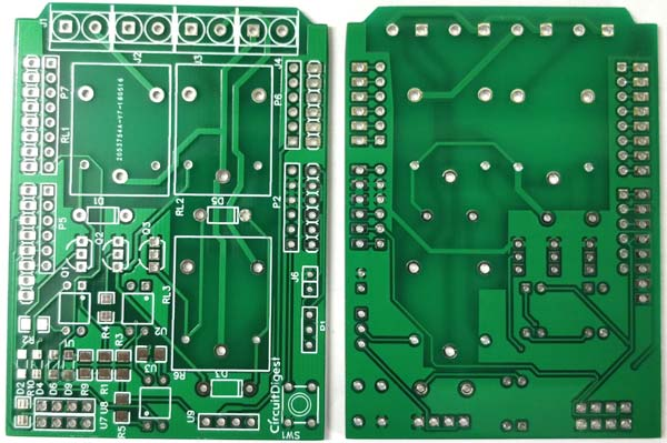 DIY Arduino Relay Driver Shield PCB front and back view