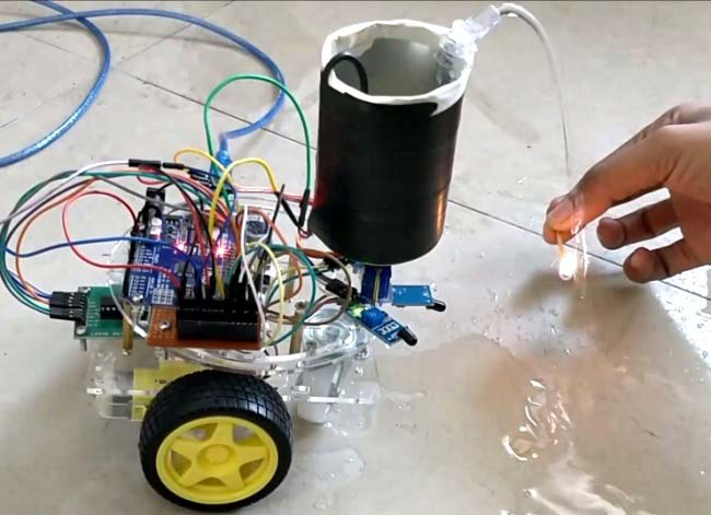 DIY Arduino based Fire Fighting Robot working