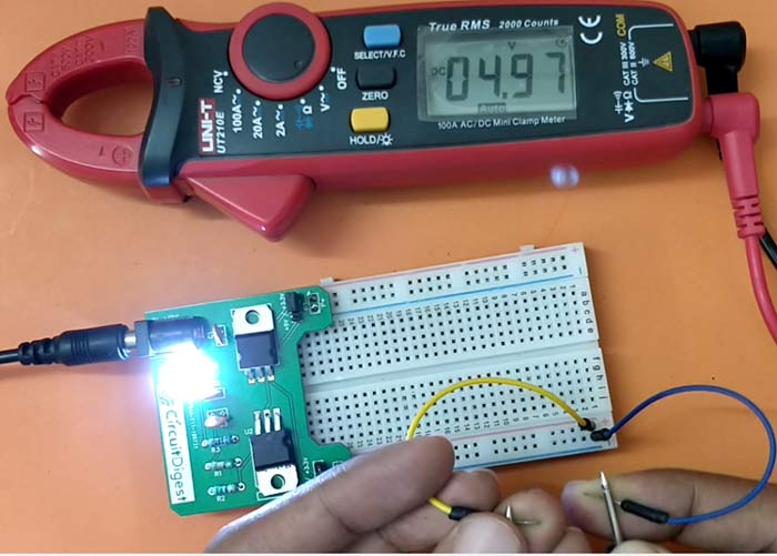 DIY Breadboard Power Supply Circuit in action