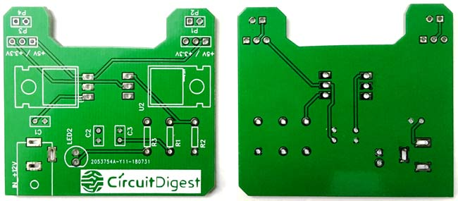 DIY Breadboard Power Supply Circuit on PCB Front and Back View