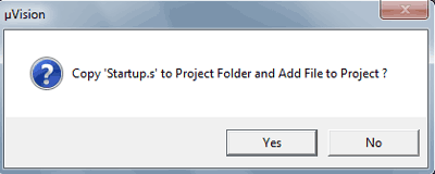 Dialog box appears to copy Startup.s