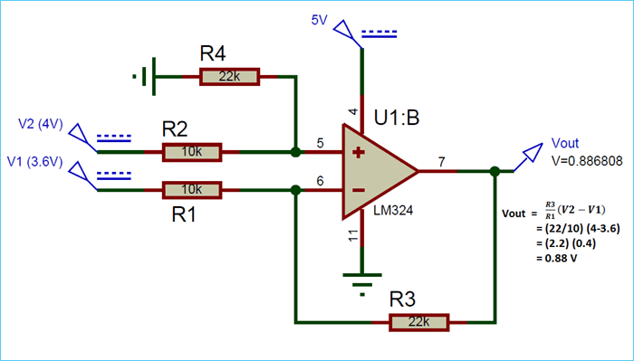Differential Amplifier Simulation Circuit