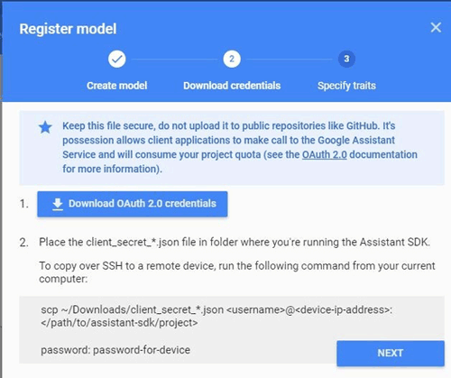 Download Credential for Registered Model on Google developer console