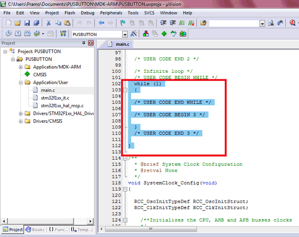 Edit Code for GPIO pin of STM32F103C8