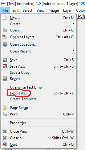 Export image using GIMP 2 software