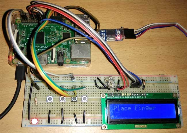 Fingerprint Sensor Interfacing with Raspberry Pi hardware implementation
