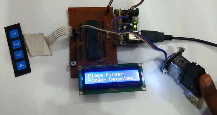 Fingerprint Sensor with PIC Microcontroller in action