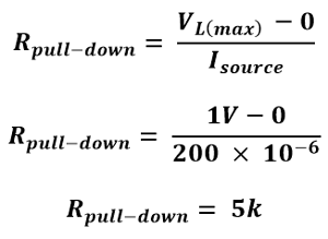 Formula for Finding value of Pull-down Resistor