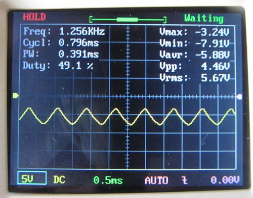 Generated Sine wave on oscilloscope after circuit modification