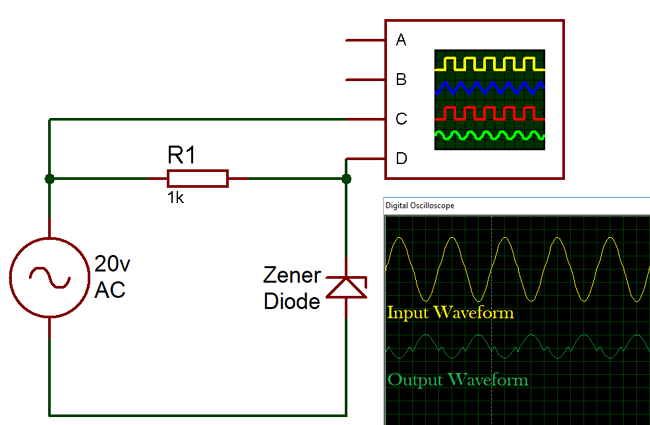 What is zener diode operation principle types uses of zener generated waveforms of zener diode clipper circuit ccuart Choice Image
