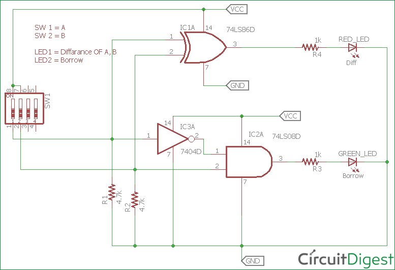 Half Subtractor Circuit Diagram