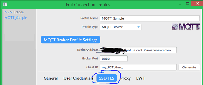In Edit connection profile select SSL/TLS