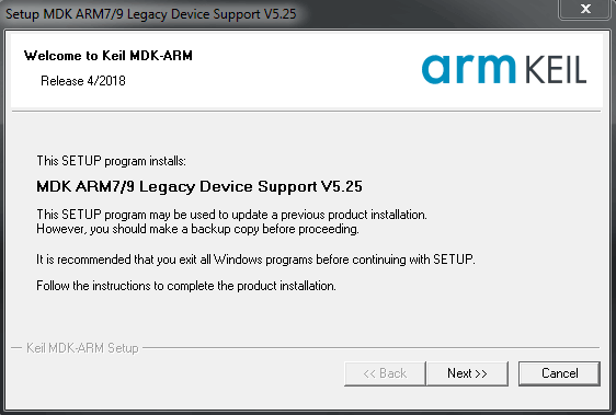Installing MDK ARM7/9 Support Package in Keil